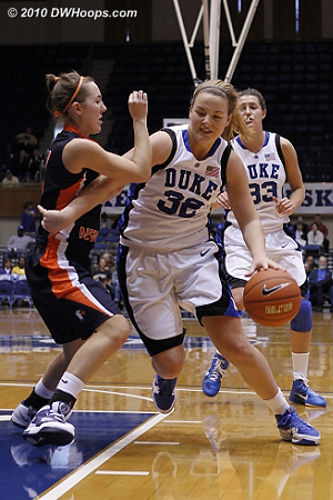 Liston fends off a defender while driving  - Duke Tags: #32 Tricia Liston