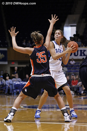 Allison Vernerey returned after being held out, here she's guarded by Shannon Depew  - Duke Tags: #43 Allison Vernerey