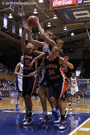 Vernerey illustrates Duke's height advantage, going over 6-0 Depew and 5-8 Mendenhall  - Duke Tags: #43 Allison Vernerey