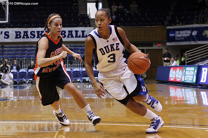 Shay had a tough start from the floor (0-4) but contributed in other ways.  Here she is driving on Katlin Moore.  - Duke Tags: #3 Shay Selby