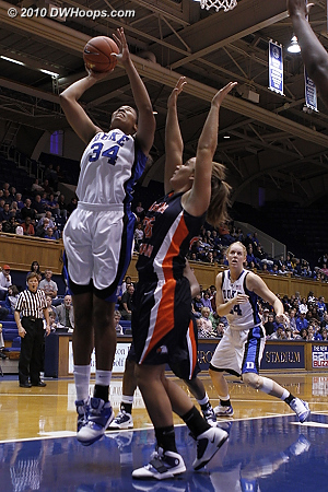 Krystal scores again in the paint  - Duke Tags: #34 Krystal Thomas