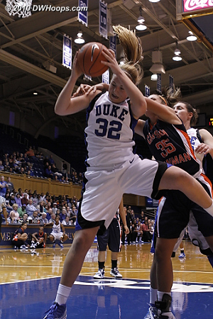 Liston with the acrobatic board. fouled by Depew.  - Duke Tags: #32 Tricia Liston