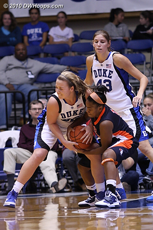 Liston forces a tie-up  - Duke Tags: #32 Tricia Liston