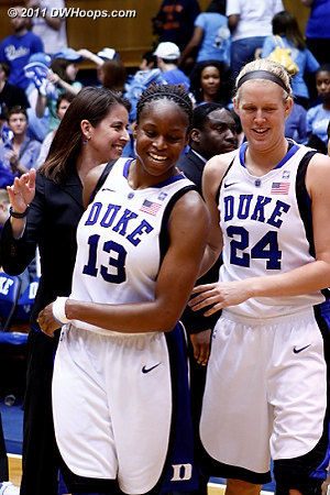 Karima and Kathleen Scheer after the win  - Duke Tags: #13 Karima Christmas, #24 Kathleen Scheer
