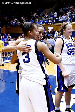 Jasmine and Shay get a hug  - Duke Tags: #3 Shay Selby, #5 Jasmine Thomas