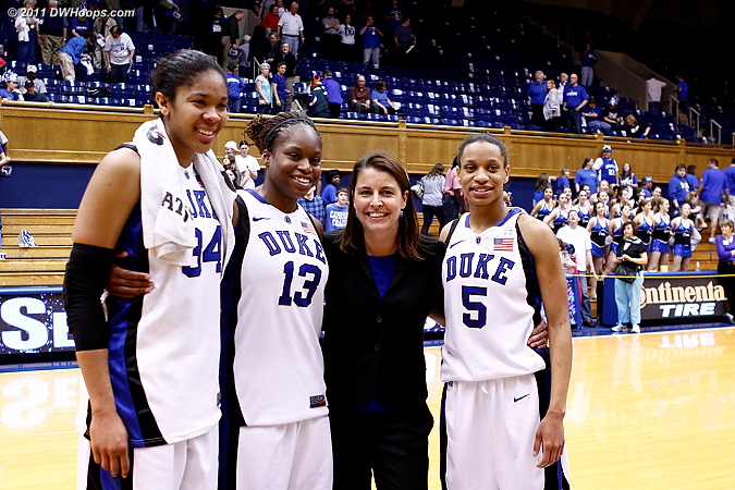 The Class of 2011 with Coach P  - Duke Tags: #5 Jasmine Thomas, #13 Karima Christmas, #34 Krystal Thomas, Joanne P. McCallie
