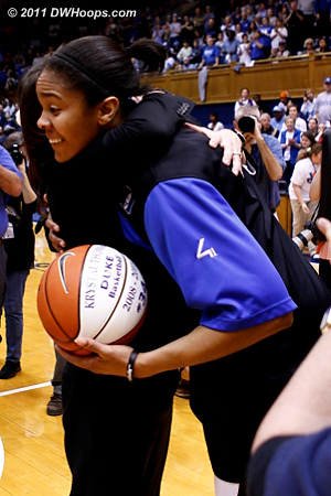 Krystal gets a BIG hug from Coach P  - Duke Tags: #34 Krystal Thomas, Joanne P. McCallie