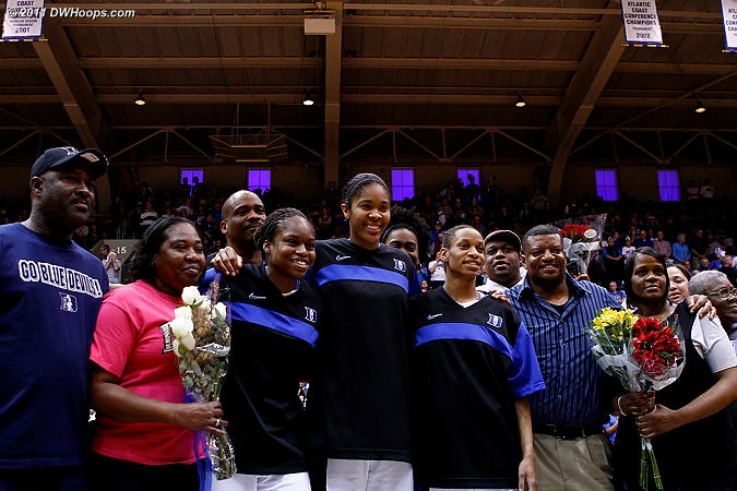 The Class of 2011 and their families on Senior Night  - Duke Tags: #5 Jasmine Thomas, #13 Karima Christmas, #34 Krystal Thomas
