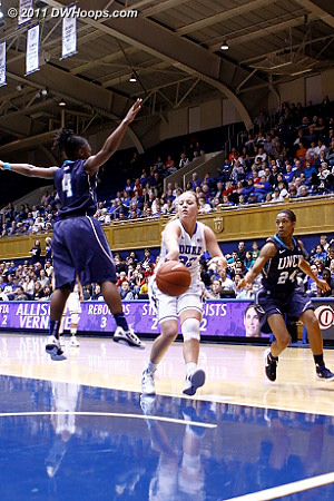 Tricia Liston delivers a nice bounce pass...  - Duke Tags: #32 Tricia Liston