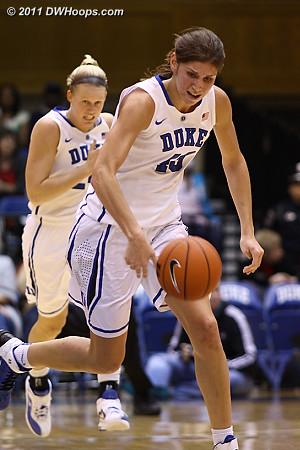 Vernerey leads a Duke fast break, trailed by Scheer  - Duke Tags: #43 Allison Vernerey