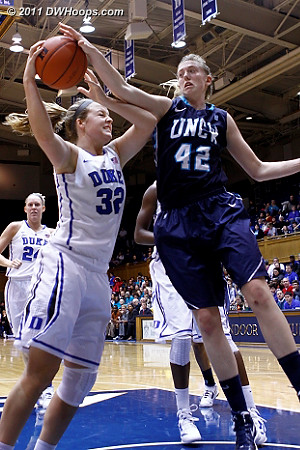 Mcgowen got UNC-W's only block of the game with this swat  - Duke Tags: #32 Tricia Liston