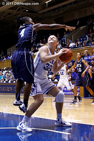 Tricia Liston fakes out Alisha Andrews - DWHoops members see the full multi-frame sequence  - Duke Tags: #32 Tricia Liston
