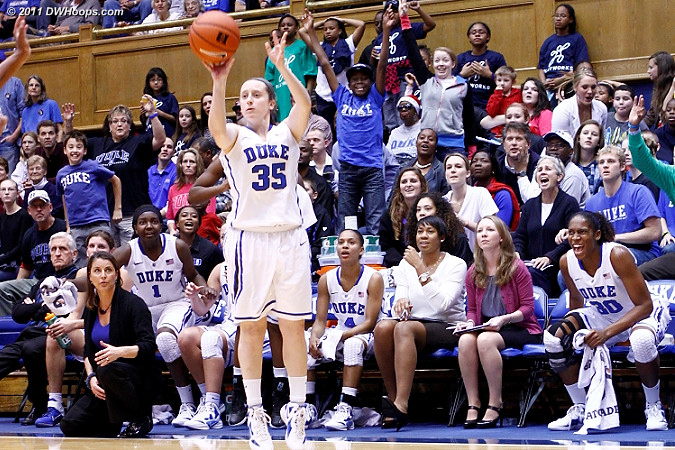 Duke bench ready to explode as Jenna Frush shoots a wide-open trey - nothing but net!