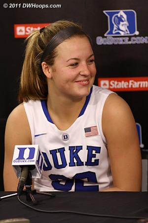 A happy Tricia Liston in the media room  - Duke Tags: #32 Tricia Liston