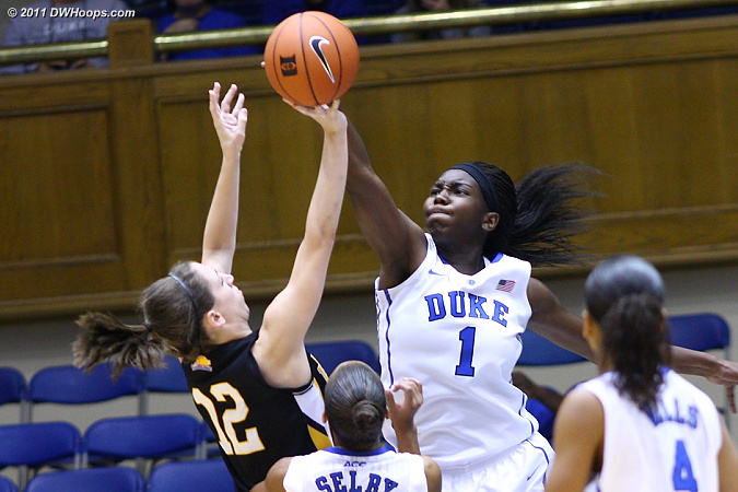 One of Elizabeth Williams' five first half blocked shots  - Duke Tags: #1 Elizabeth Williams 
