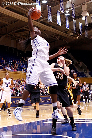 Elizabeth Williams gathers in a long outlet pass  - Duke Tags: #1 Elizabeth Williams 
