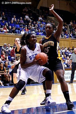 Williams in the low post guarded by Vontreece Hayes (35)  - Duke Tags: #1 Elizabeth Williams