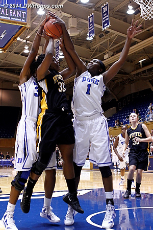 Hayes (35) blocked by both Henson and Williams  - Duke Tags: #1 Elizabeth Williams, #30 Amber Henson 