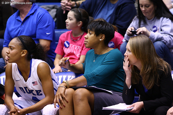 Duke Assistant Joy Cheek on the bench  - Duke Tags: Joy Cheek 