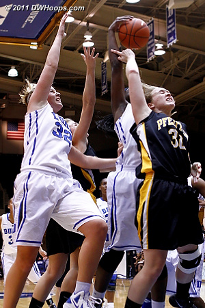 Elizabeth Williams gathers in a rebound over Christina Harvey (32)  - Duke Tags: #1 Elizabeth Williams, #32 Tricia Liston 