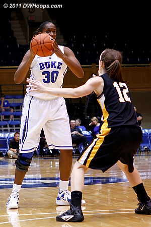 Amber reads the Pfeiffer defense from the high post  - Duke Tags: #30 Amber Henson 