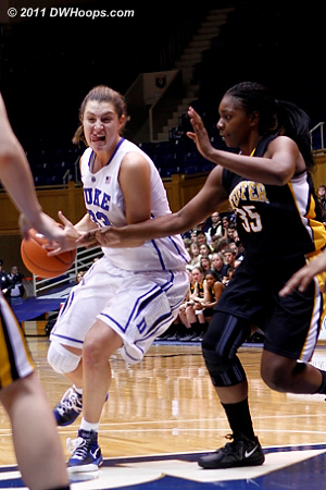An intense Haley Peters enters the paint, guarded by Vontreece Hayes (35)  - Duke Tags: #33 Haley Peters