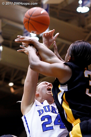 Battle for a rebound  - Duke Tags: #24 Kathleen Scheer
