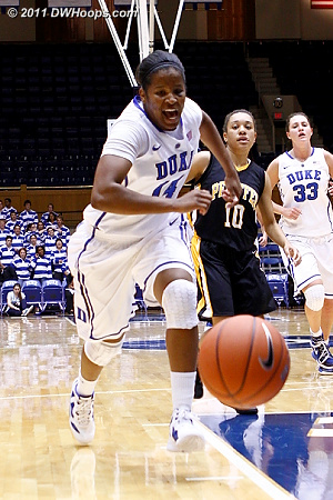 Johnson chases down an errant pass  - Duke Tags: #14 Ka'lia Johnson 
