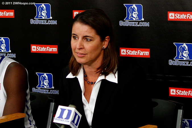 Coach P in the media room  - Duke Tags: Joanne P. McCallie 