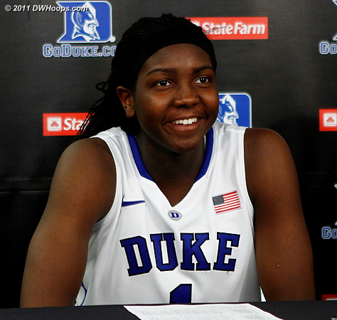 Elizabeth Williams in the media room  - Duke Tags: #1 Elizabeth Williams