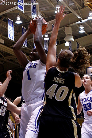 Elizabeth Williams grabs one of her game-high 17 rebounds.  - Duke Tags: #1 Elizabeth Williams