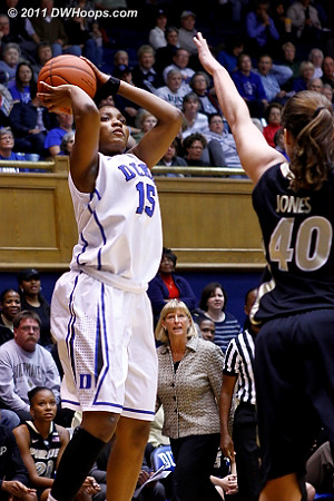 Richa Jackson tries an open mid-range jumper  - Duke Tags: #15 Richa Jackson