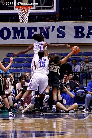 One of Elizabeth Williams four blocked shots  - Duke Tags: #1 Elizabeth Williams