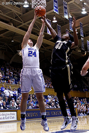 Scheer and Alex Guyton (41) battle for a rebound  - Duke Tags: #24 Kathleen Scheer