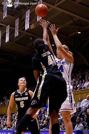 Scheer shoots over Guyton  - Duke Tags: #24 Kathleen Scheer
