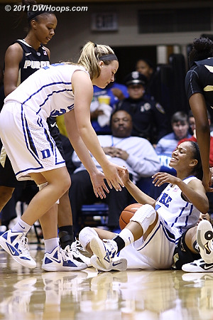 Tricia Liston helps Chloe Wells up after the latter forced a tieup  - Duke Tags: #4 Chloe Wells, #32 Tricia Liston
