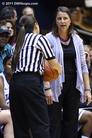 Coach P is not happy with official Cameron Inouye and lets her know  - Duke Tags: Joanne P. McCallie