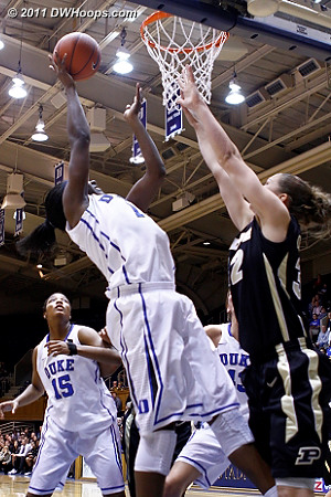 An awkward attempt from Williams who seemed to be rushing her shot  - Duke Tags: #1 Elizabeth Williams