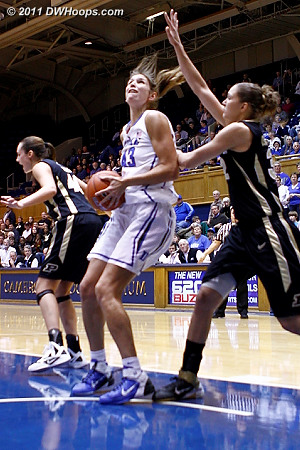 Vernerey catches an inbounds pass in the paint  - Duke Tags: #43 Allison Vernerey