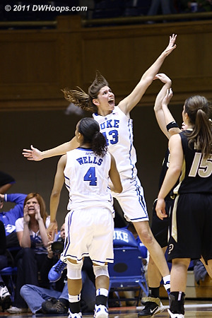 An animated Vernerey on defense  - Duke Tags: #43 Allison Vernerey
