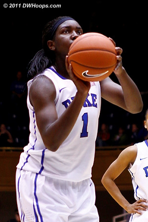 Elizabeth Williams at the stripe - she was a popular player to foul  - Duke Tags: #1 Elizabeth Williams