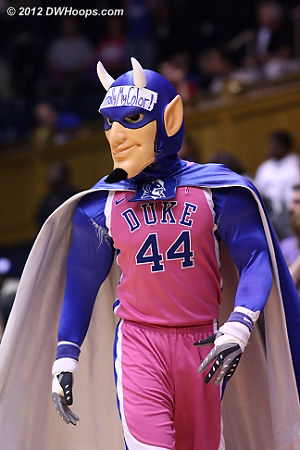 The Blue Devil had his pink on for Play4Kay, benefiting the Kay Yow Foundation.