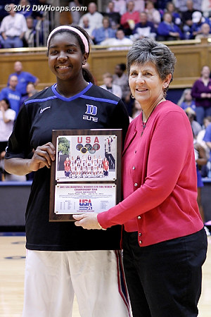 Elizabeth Williams received a USA Basketball award before the game  - Duke Tags: #1 Elizabeth Williams