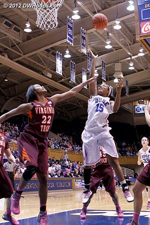 Richa Jackson scored the first basket  - Duke Tags: #15 Richa Jackson - VT Players: #22 Porschia Hadley