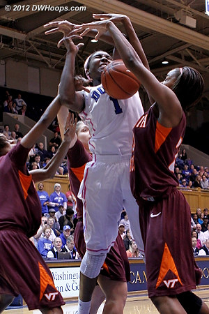 Foul on Aerial Wilson (left)  - Duke Tags: #1 Elizabeth Williams - VT Players: #3 Aerial Wilson, #22 Porschia Hadley
