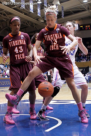 Fenyn about to grab a defensive rebound  - VT Players: #13 Alyssa Fenyn