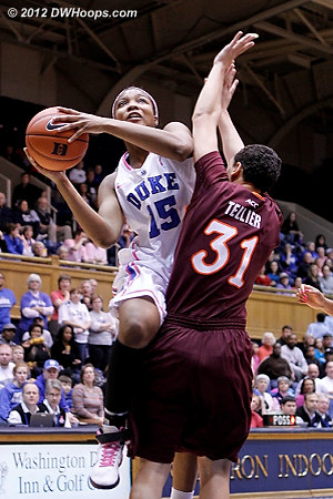Solid defense by Tellier results in a Jackson miss  - Duke Tags: #15 Richa Jackson - VT Players: #31 Monet Tellier