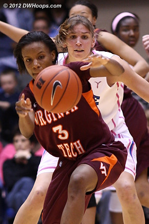 Wilson loses the handle  - Duke Tags: #43 Allison Vernerey - VT Players: #3 Aerial Wilson