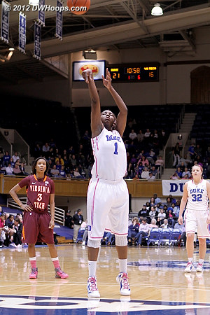 Williams made these two free throws to put Duke up 23-16, but for the night she was 6-12 from the stripe.  - Duke Tags: #1 Elizabeth Williams