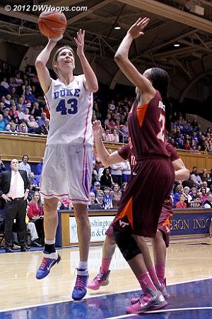 Vernerey was 0-4 from the floor  - Duke Tags: #43 Allison Vernerey - VT Players: #21 Brittni Montgomery